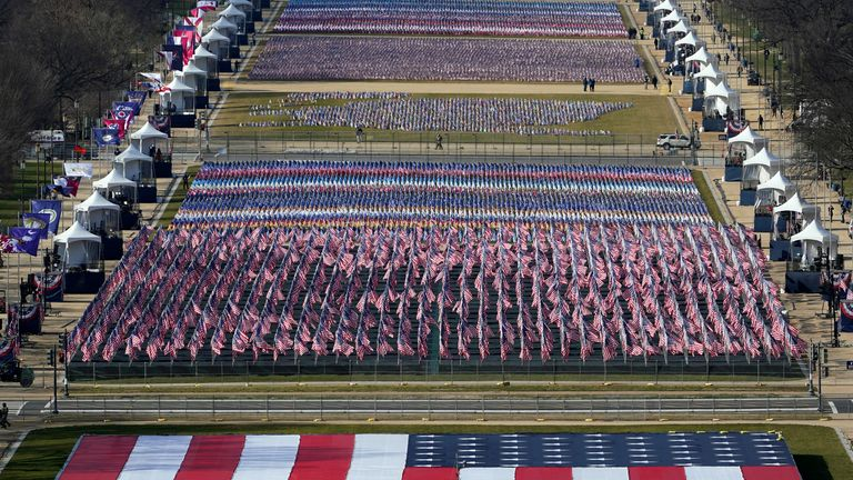 Flags have replaced people on Washington's famous National Mall