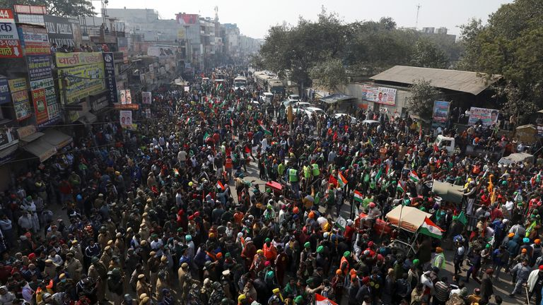 Farmers and protesters crowd up as they change their route for the tractor rally to protest against farm laws, as they head towards Delhi on the occasion of India's Republic Day, India, January 26, 2021. REUTERS/Anushree Fadnavis