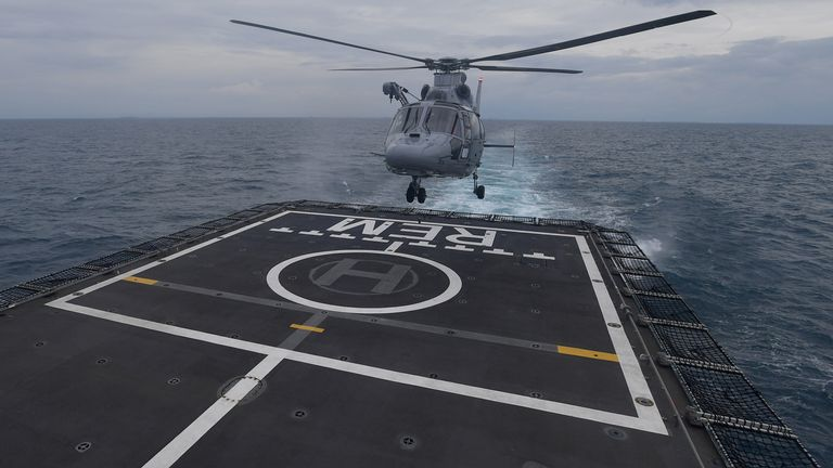 A helicopter takes off for an aerial search of the Sriwijaya Air SJ-182, which crashed into the sea, off the Jakarta coast, Indonesia, January 10, 2021, in this photo taken by Antara Foto/Sigid Kurniawan/via Reuters. ATTENTION EDITORS - THIS IMAGE WAS PROVIDED BY THIRD PARTY. MANDATORY CREDIT. INDONESIA OUT.