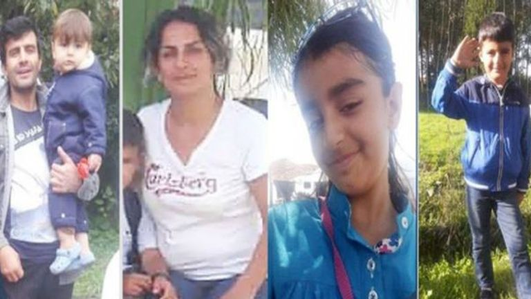 Rasoul Iran-Nejad, 35, Shiva Mohammad Panahi, 35, Anita, nine, and Armin, six. Pic: Hengaw Organisation for Human Rights