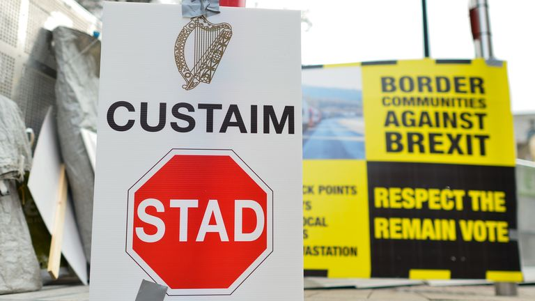 A protest against a hard border between the Republic of Ireland and the Northern Ireland takes place outside the Leinster House in Dublin on the day when the UK has triggered Article 50 to leave the EU. On Wednesday, March 29, 2017, in Dublin, Ireland. Photo by Artur Widak *** Please Use Credit from Credit Field ***