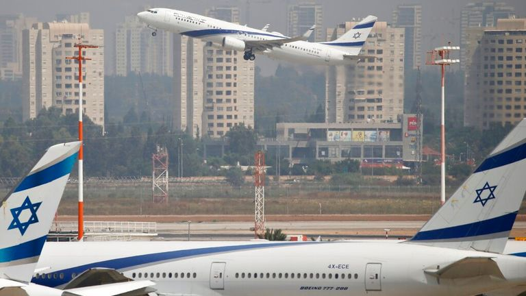 Israeli flag carrier El Al's airliner which carry Israeli and U.S. delegations to Abu Dhabi for talks meant to put final touches on the normalization deal between the United Arab Emirates and Israel, takes off at Ben Gurion Airport, near Tel Aviv, Israel Monday, Aug. 31, 2020.(AP Photo/Ariel Schalit)