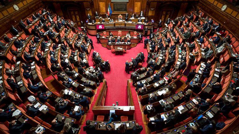 The Italian Senate, where Mr Conte has lost his absolute majority. Pic: AP