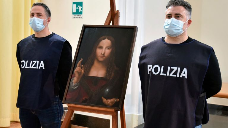 The painting, sold for a record 450 million dollars (£330m), went missing during the pandemic without the priests from the Naples church even realising it was gone. Pic: AP