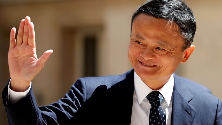 "Jack Ma, chairman of Alibaba Group arrives at the ""Tech for Good"" Summit in Paris, France May 15, 2019."
