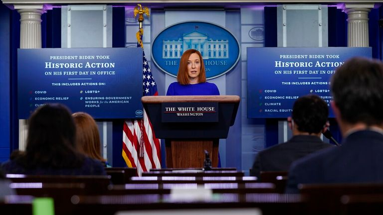 Pic: AP White House press secretary Jen Psaki speaks during a press briefing at the White House, Wednesday, Jan. 20, 2021, in Washington. (AP Photo/Evan Vucci)