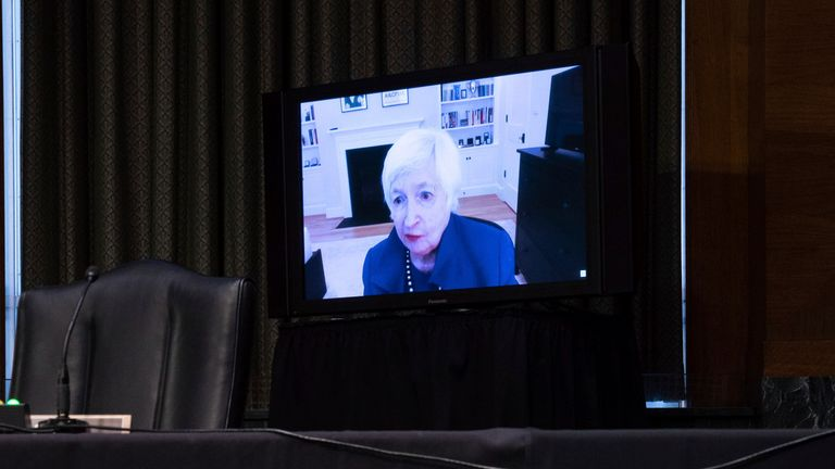 Treasury Secretary-nominee Janet Yellen gives testimony virtually during the Senate confirmation hearing. Pic: AP