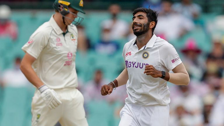 Jasprit Bumrah, right, celebrates after dismissing Australia's Cameron Green, on day two of the match in Sydney