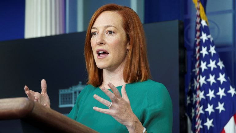 White House Press Secretary Jen Psaki speaks to reporters at the White House in Washington, U.S., January 25, 2021. REUTERS/Kevin Lamarque