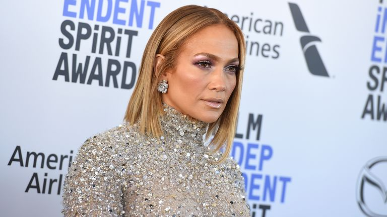 Jennifer Lopez arrives at the 35th Film Independent Spirit Awards on Saturday, Feb. 8, 2020, in Santa Monica, Calif. (Photo by Jordan Strauss/Invision/AP)