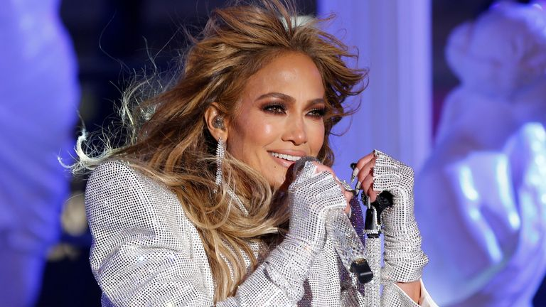 Jennifer Lopez performs in Times Square on New Years Eve, December 2020