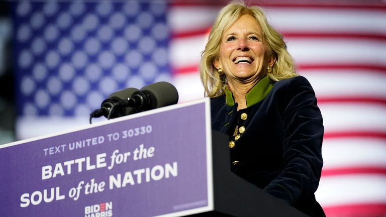 Jill Biden speaking at a drive-in rally just before the election. Pic: AP