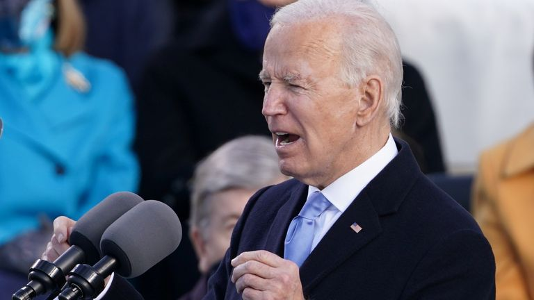U.S. President Joe Biden delivers his speech after he was sworn in as the 46th President of the United States on the West Front of the U.S. Capitol in Washington, U.S., January 20, 2021. REUTERS/Kevin Lamarque