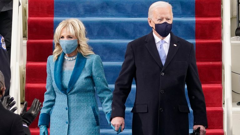 President-elect Joe Biden and his wife Jill, walk out for the 59th Presidential Inauguration at the U.S. Capitol in Washington. Pic: AP