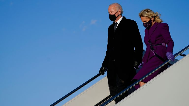President-elect Joe Biden arrives at Andrews Air Force Base with his wife Jill on the day before his inauguration