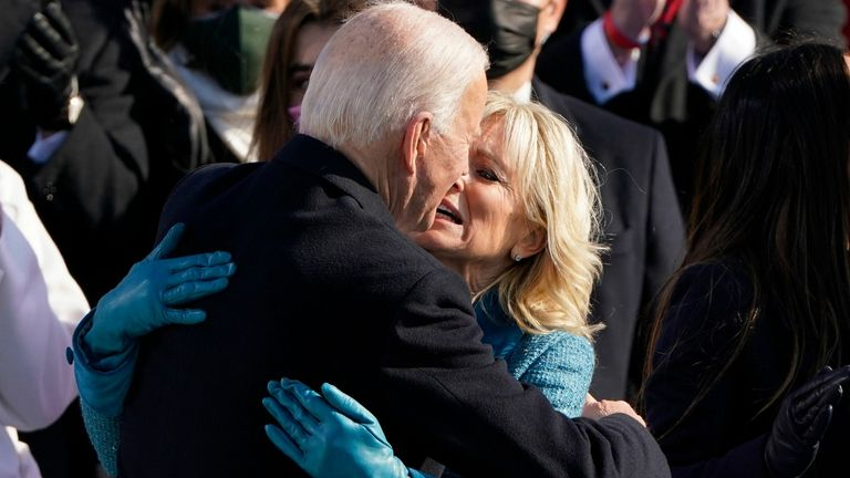 President Joe Biden is congratulated by First lady Jill Biden, after being sworn-in during the inauguration. Pic: Patrick Semansky/POOL/EPA-EFE/Shutterstock