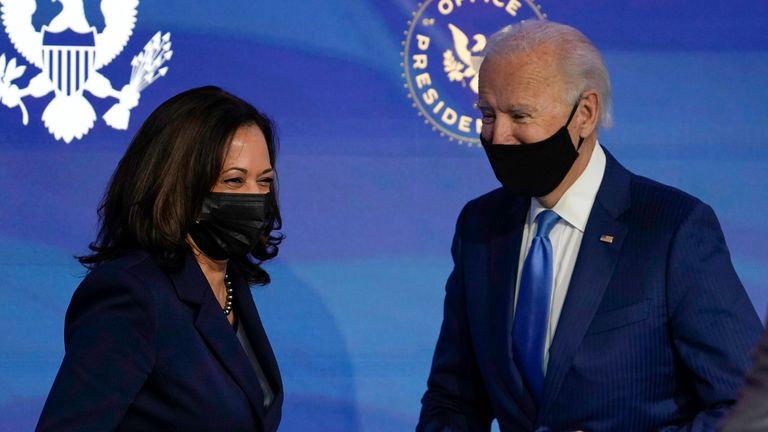 President-elect Joe Biden, right, and Vice President-elect Kamala Harris, are to be sworn in on Wednesday