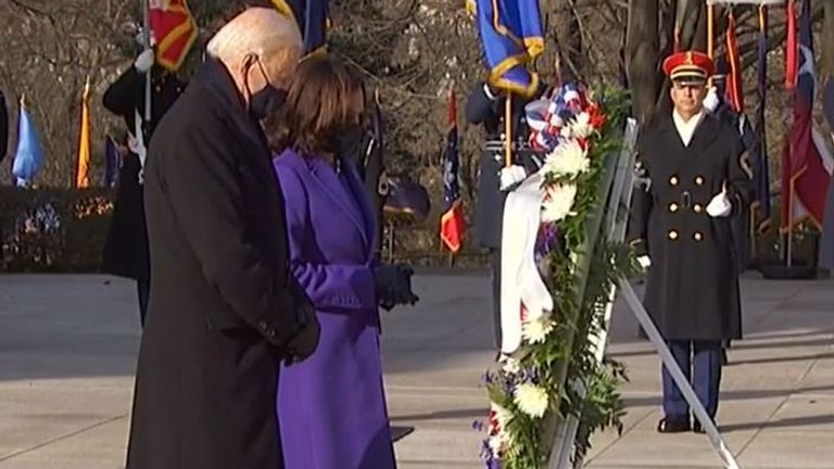 Joe Biden and Kamala Harris visit Arlington National Cemetery