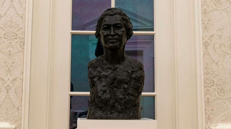 Furnishings include a bust of civil rights leader Rosa Parks. Pic: AP