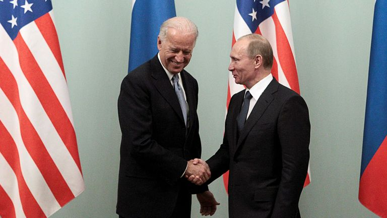 Joe Biden visited Russia and met with Vladimir Putin in 2011, when he was vice president. File pic