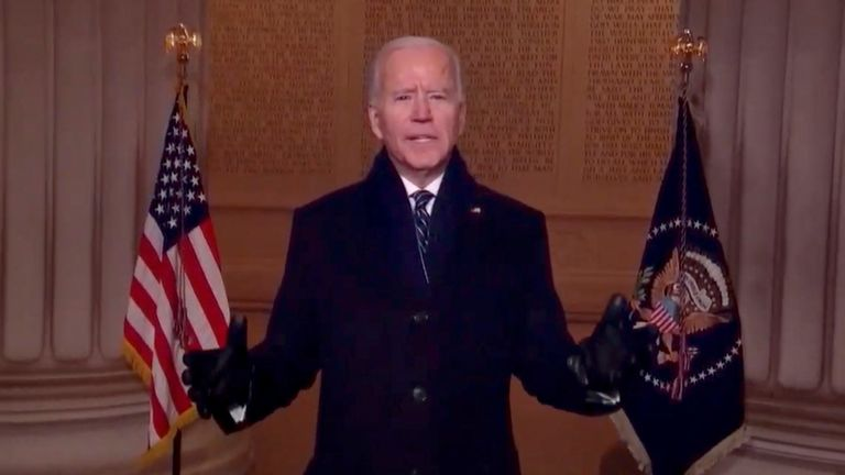 Joe Biden speaks as part of the Celebrating America Primetime Special