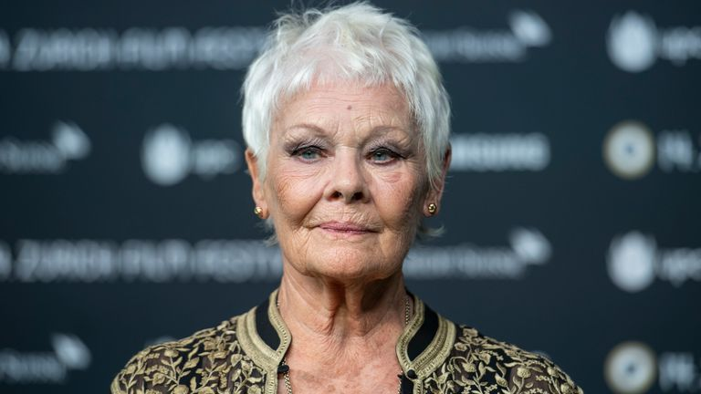Judi Dench poses on the Green Carpet before the screening of Red Joan at the 14th Zurich Film Festival (ZFF) in Switzerland in 2018