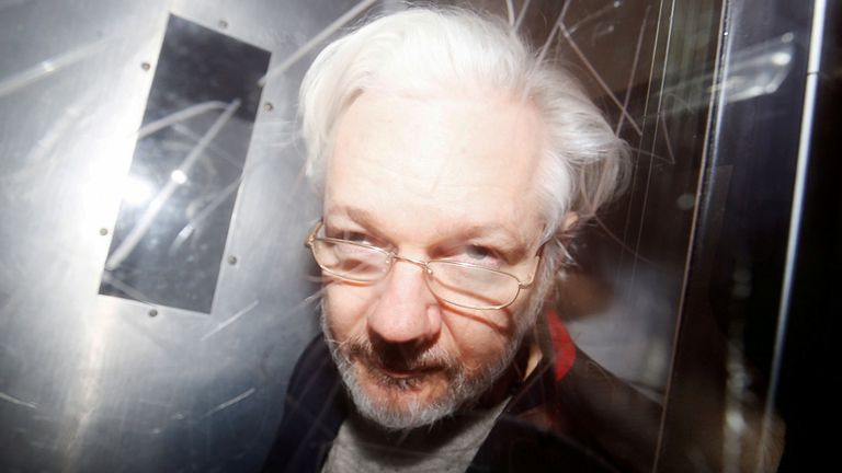 Julian Assange pictured in January 2020