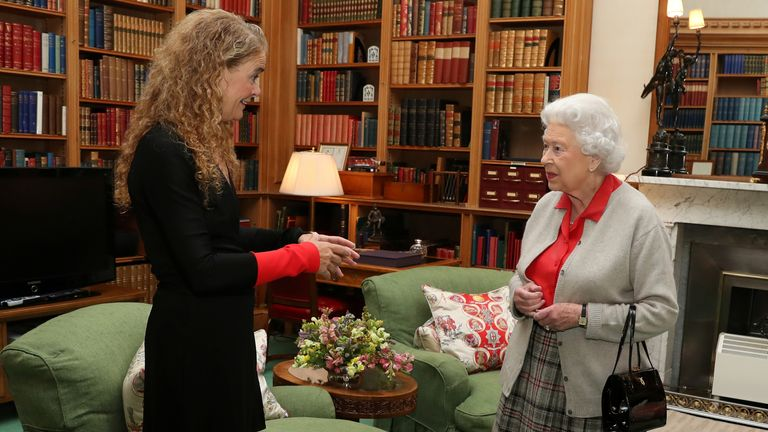 Julie Payette with the Queen at Balmoral Castle, Scotland, in September 2017