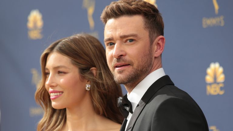 Jessica Biel and Justin Timberlake at the Emmys in 2018