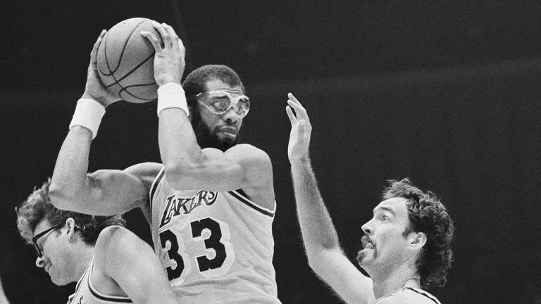 Kareem Abdul-Jabbar at the height of his powers for the Lakers in 1982 Pic: AP