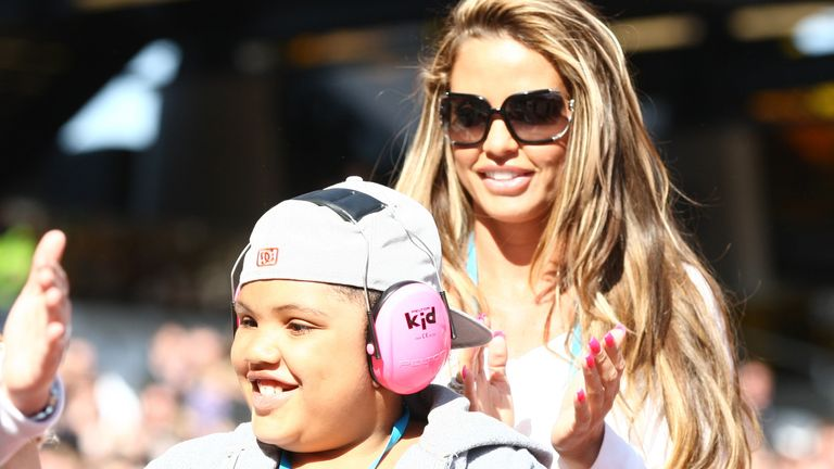 Athletics - Gold Challenge - London 2012 Test Event - Olympic Stadium, London - 1/4/12 Katie Price / Jordan with her son Harvey during the Gold Challenge Event Mandatory Credit: Action Images / Paul Childs