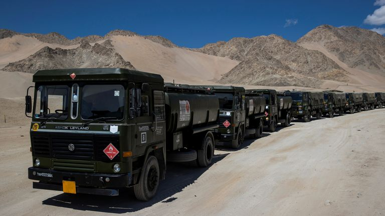 Military tankers carrying fuel in the region