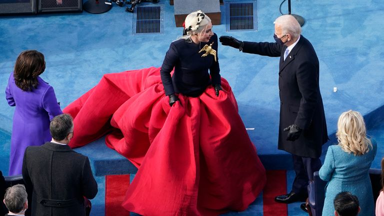 Joe Biden greets Lady Gaga during his inauguration ceremony. Pic: AP