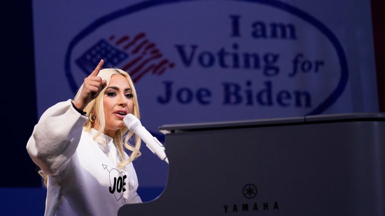 Lady Gaga performs during a drive-in rally for Joe Biden