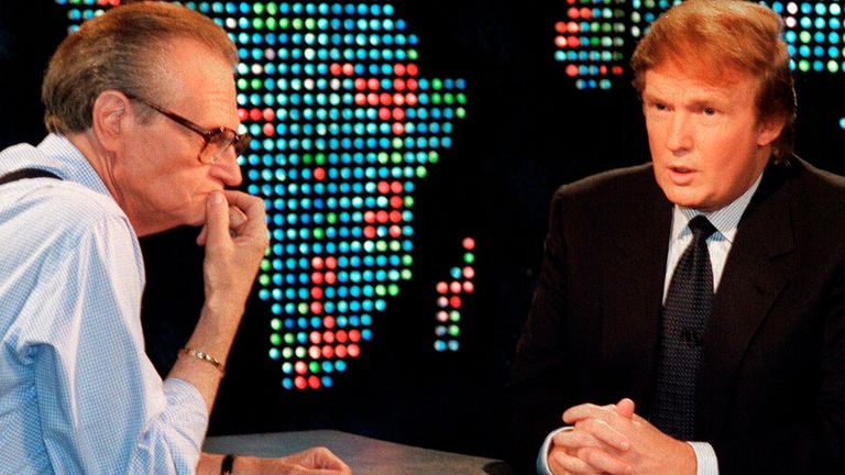 "Donald Trump, right, is interviewed by Larry King during a taping of ""Larry King Live,"" Thursday, Oct, 7, 1999, in New York. Trump said he has formed an exploratory committee to help him determine whether he can win the White House as a Reform Party candidate. (AP Photo/Marty Lederhandler)"
