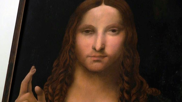 The painting is a copy of the Salvator Mundi (Savior of the World) by da Vinci that sold for a record 450 million dollars (£330m) at a Christie's auction in 2017.