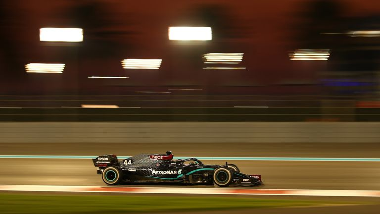 Lewis Hamilton's Mercedes in action in Abu Dhabi in December