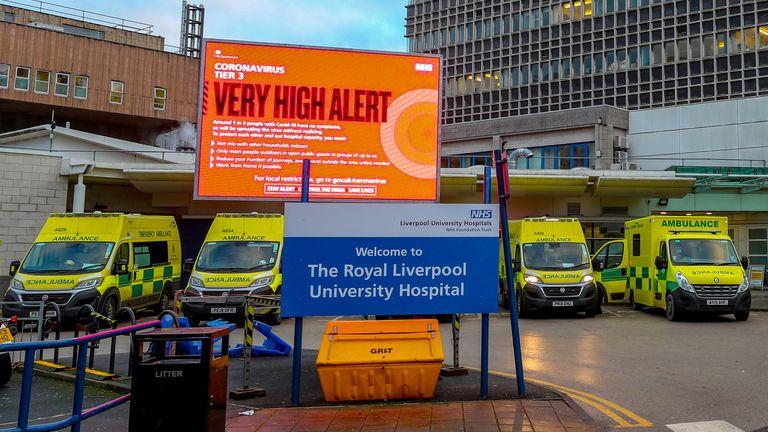 Ambulance bays outside the Royal Liverpool Hospital