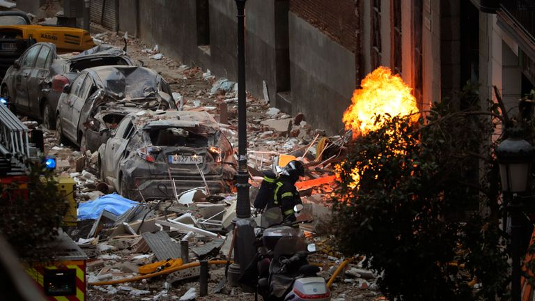 Scene of Madrid explosion. Pic: AP