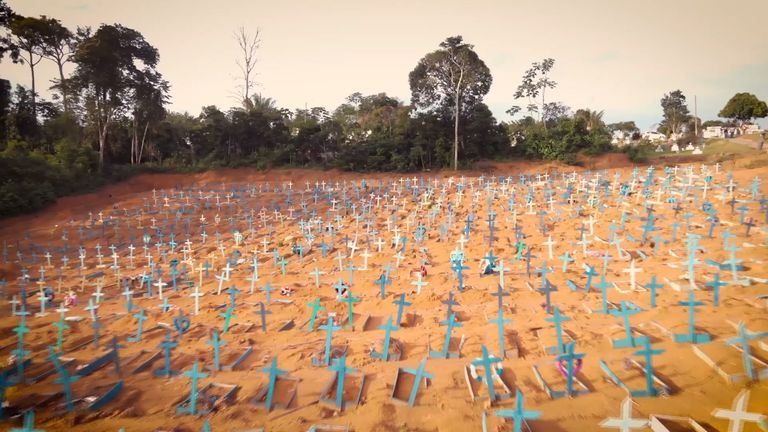 Graves dug for people who died of COVID-19 in Manaus, Brazil