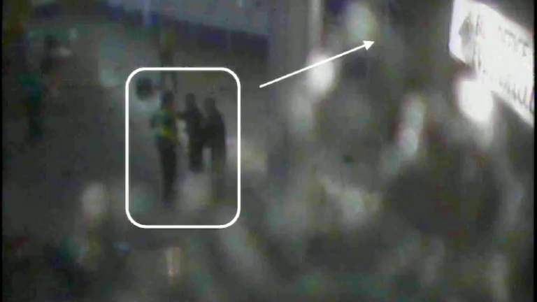 Insp Michael Smith from Greater Manchester Police was seen on a bomb-damaged CCTV camera as he arrived in the City Room foyer with colleagues, 18 minutes after the explosion.
