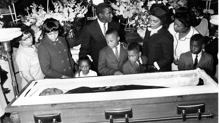 Coretta Scott and her four children view King's body in Atlanta on 7 April 1968