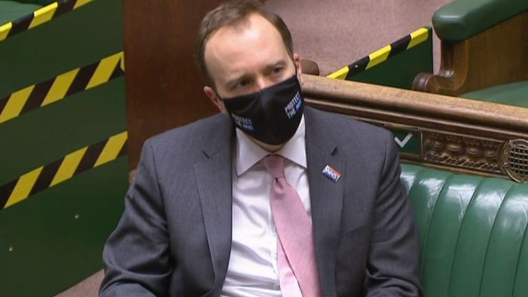 Health Secretary Matt Hancock wears a mask in the House of Commons