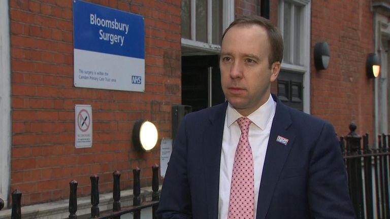 Health Secretary Matt Hancock stands outside Bloomsbury Surgery in London