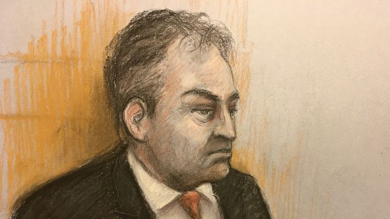 Court artist sketch by Elizabeth Cook of Mr Justice Warby at the Royal Courts of Justice, London, during the Duchess of Sussex's High Court privacy action against Associated Newspapers Limited (ANL) for the publication of a handwritten letter to her estranged father, Thomas Markle. Picture date: Tuesday January 19, 2021.