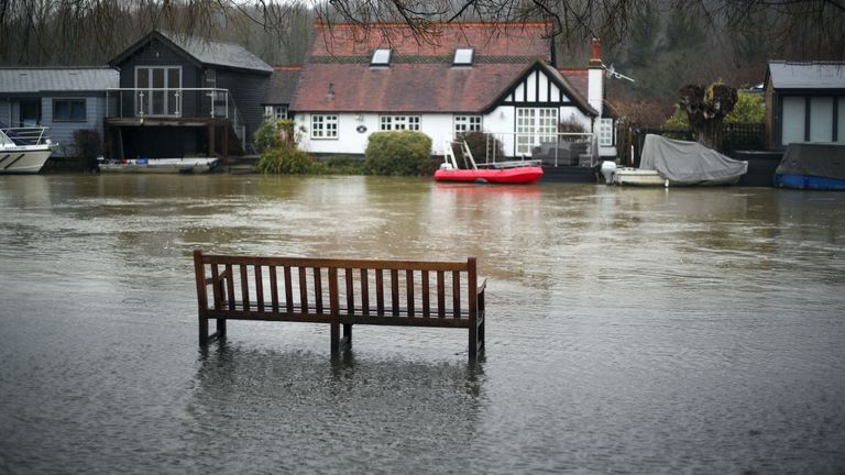 The flooded towpath in Henley-on-Thames, Oxfordshire.