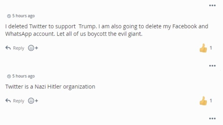 'I deleted Twitter to support Trump' writes one MeWe user