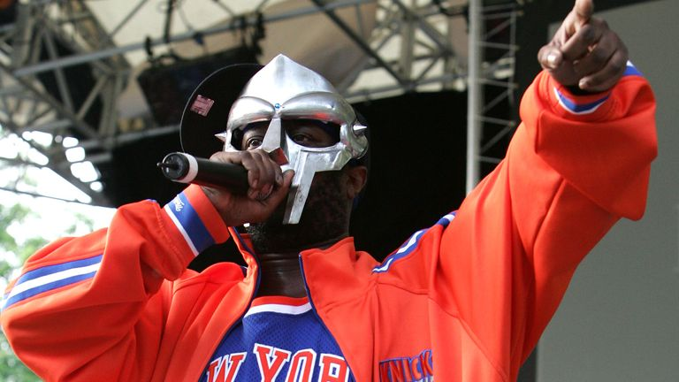 Rapper MF DOOM performing at a benefit concert in New York in 2005