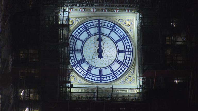 Midnight on Big Ben on 1 Jan 2021
