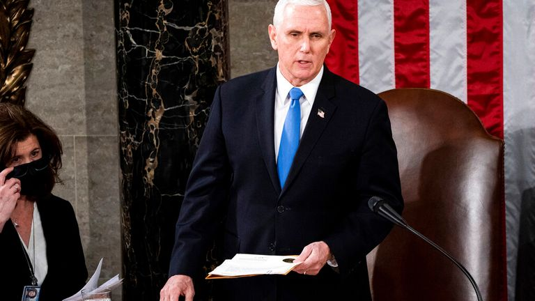 House Speaker Nancy Pelosi and Vice President Mike Pence preside over a Joint session of Congress to certify the 2020 Electoral College results on Capitol Hill in Washington, DC.